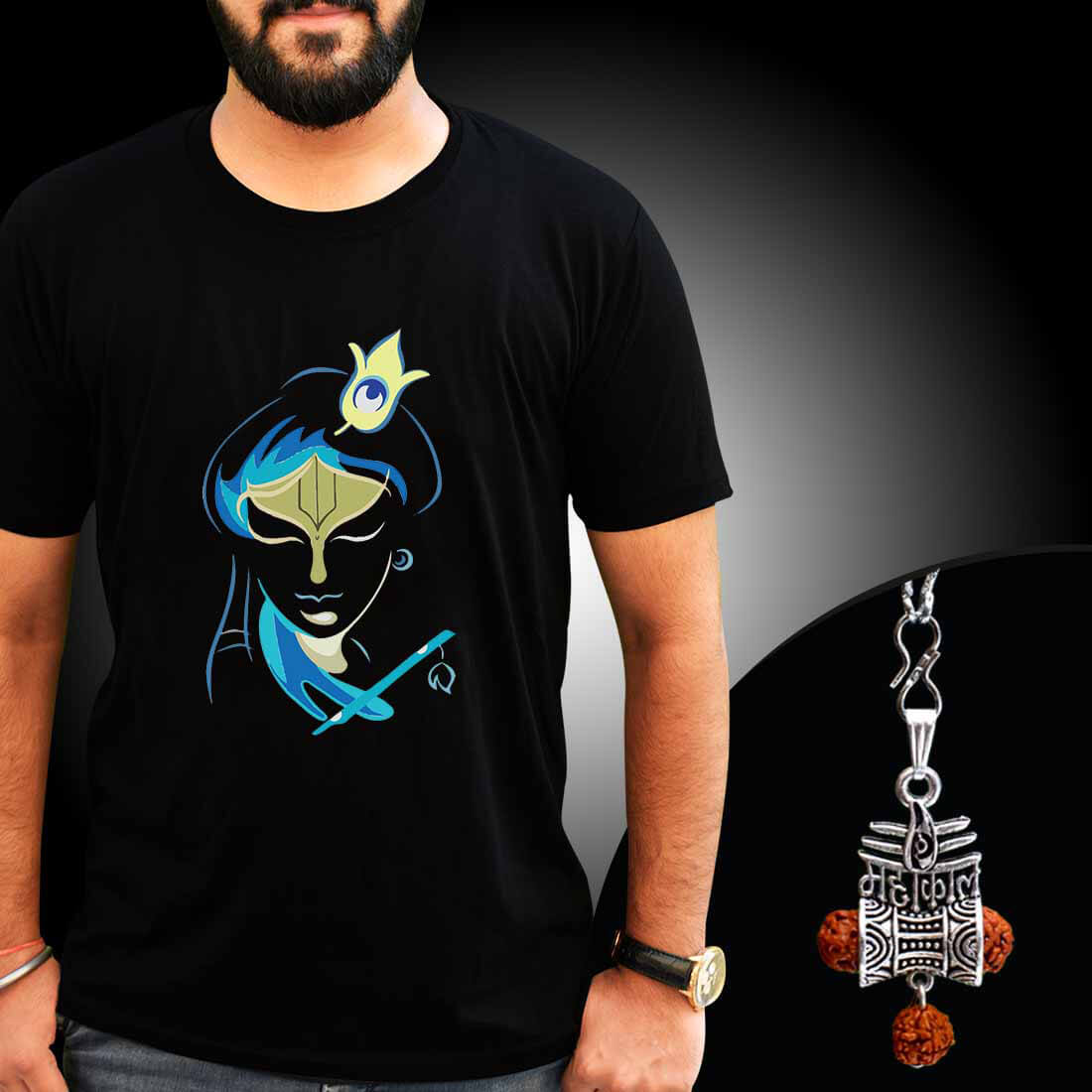 Krishna Printed T-shirt Combo With Mahakal Locket