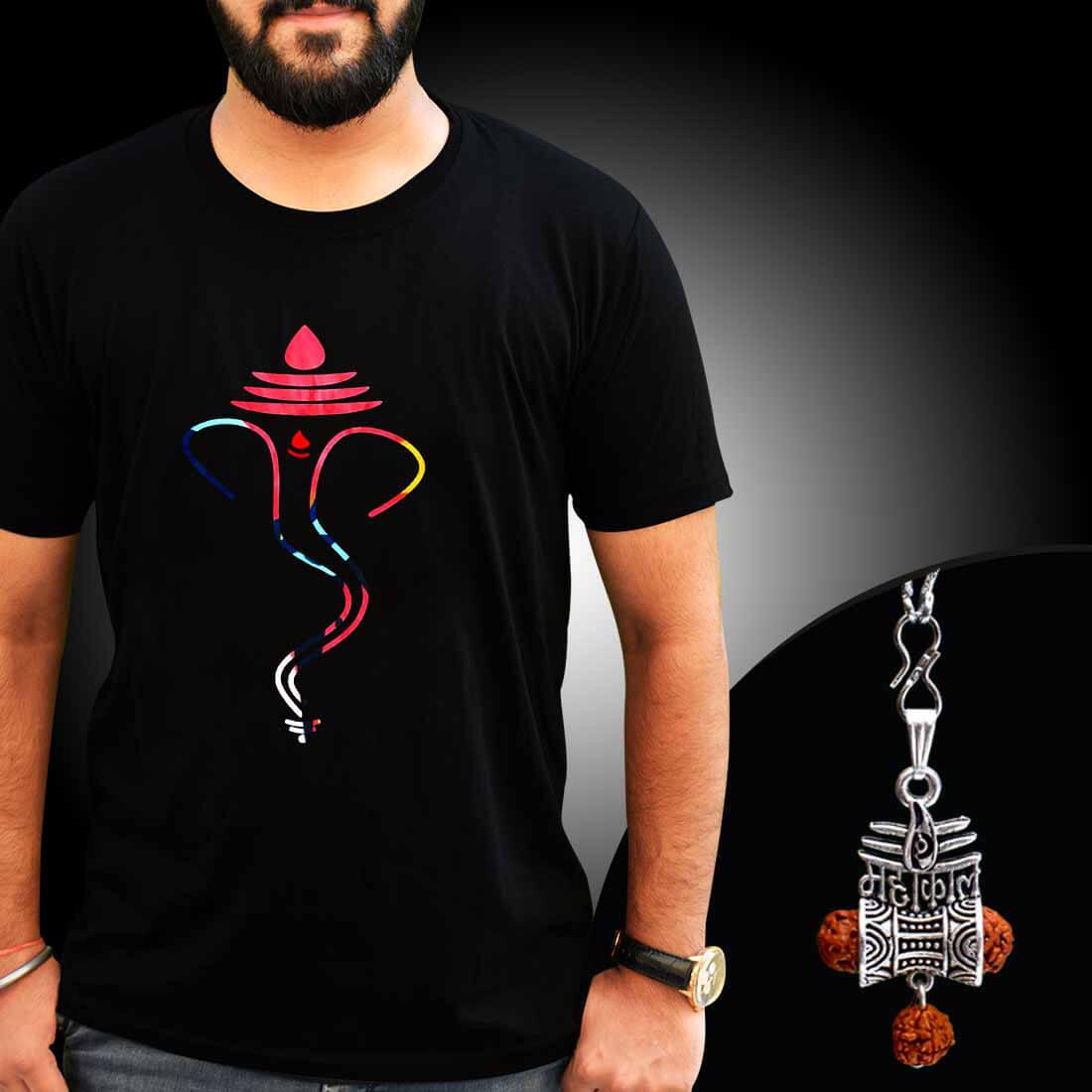 Ganesha Printed T-shirt Combo With Mahakal Locket