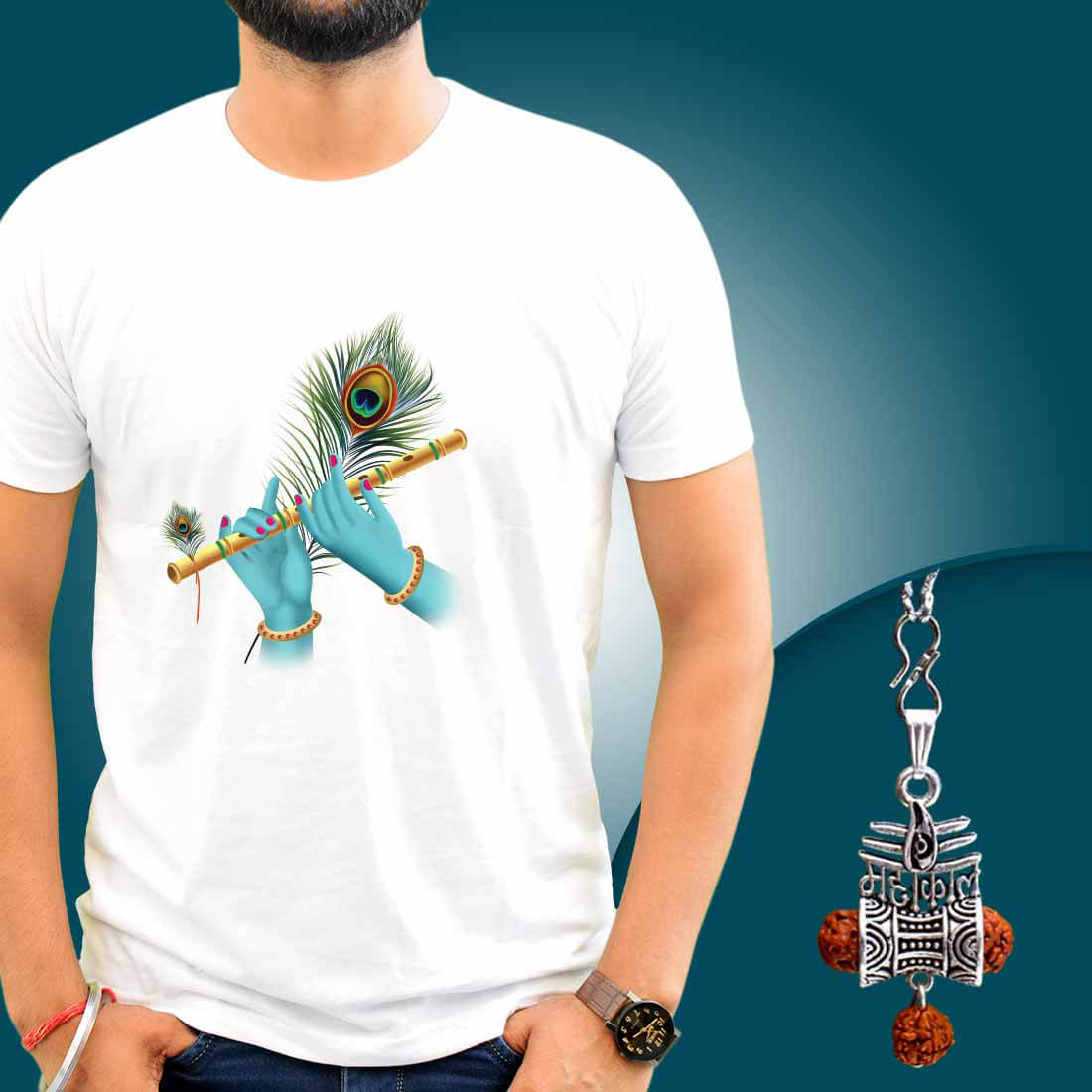 Krishna Bansuri T-Shirt Combo With Mahakal Locket