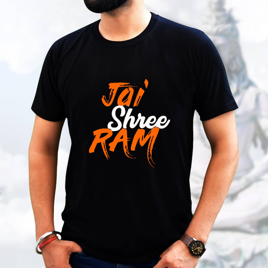 Best God Ram T-Shirt  in Black Men with Devotional Quotes