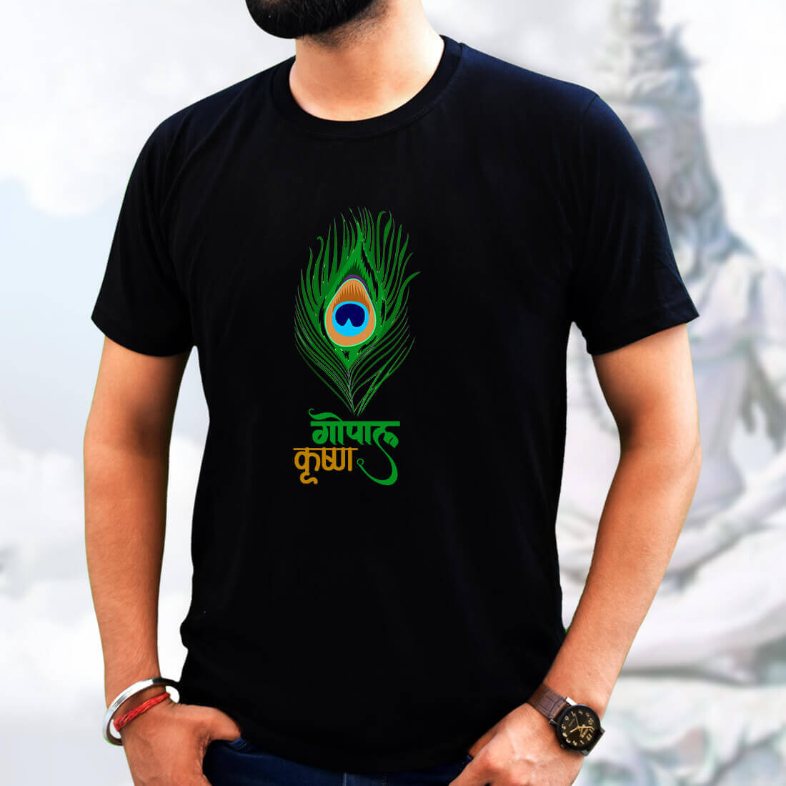 Best Gopala Krishna simple and Different For Men Black T-Shirt
