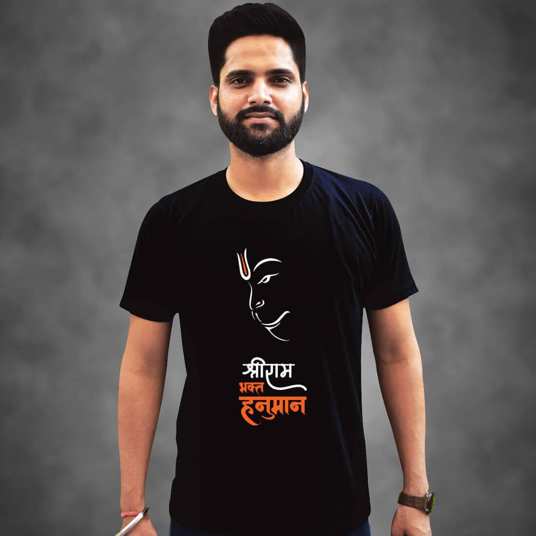 Best Hanuman,Black T-Shirt Front and Back