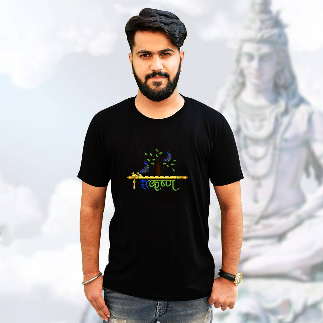 Best Lord Krishna Black T-Shirt Front and Back