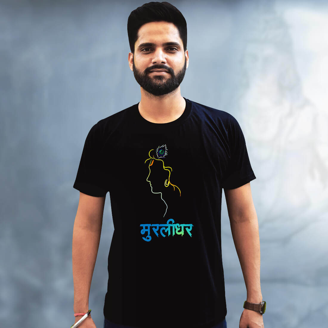 Best Lord Krishna Quote Black T-Shirt Front and Back