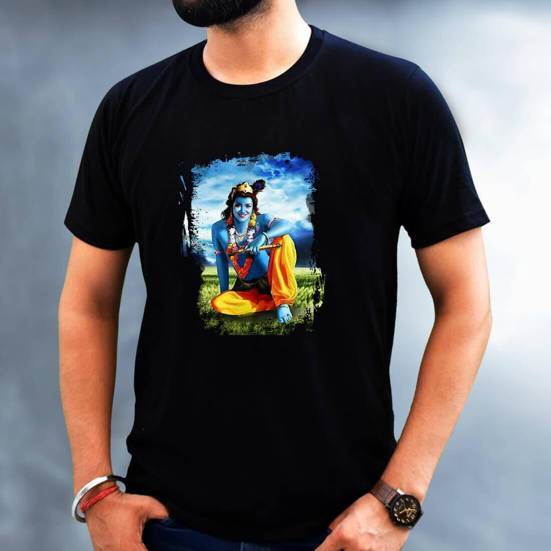 Best Lord Krishna simple and Unique Print Men Black T-Shirt