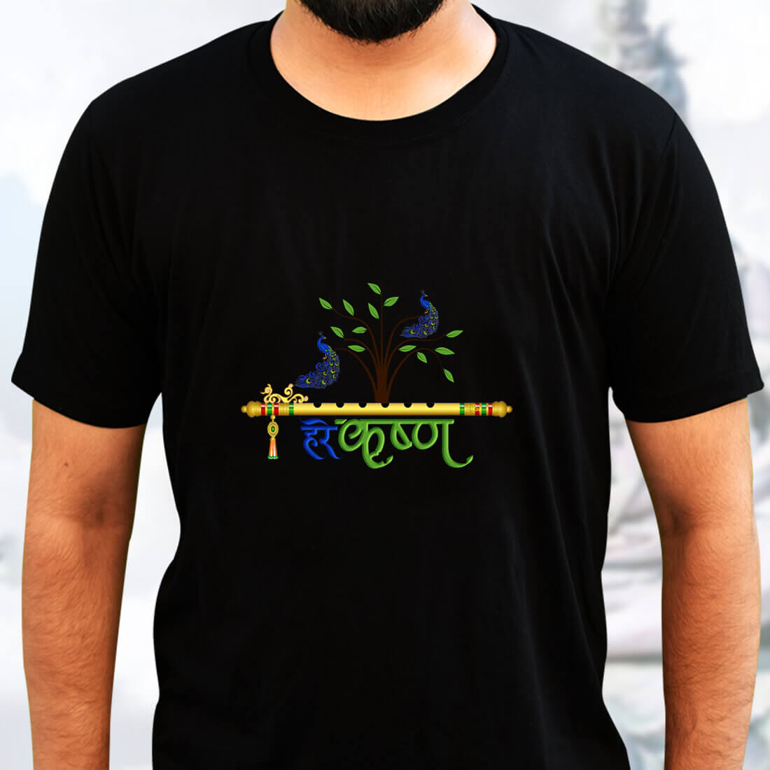Best Lord Krishna simple and Different For Men Black T-Shirt