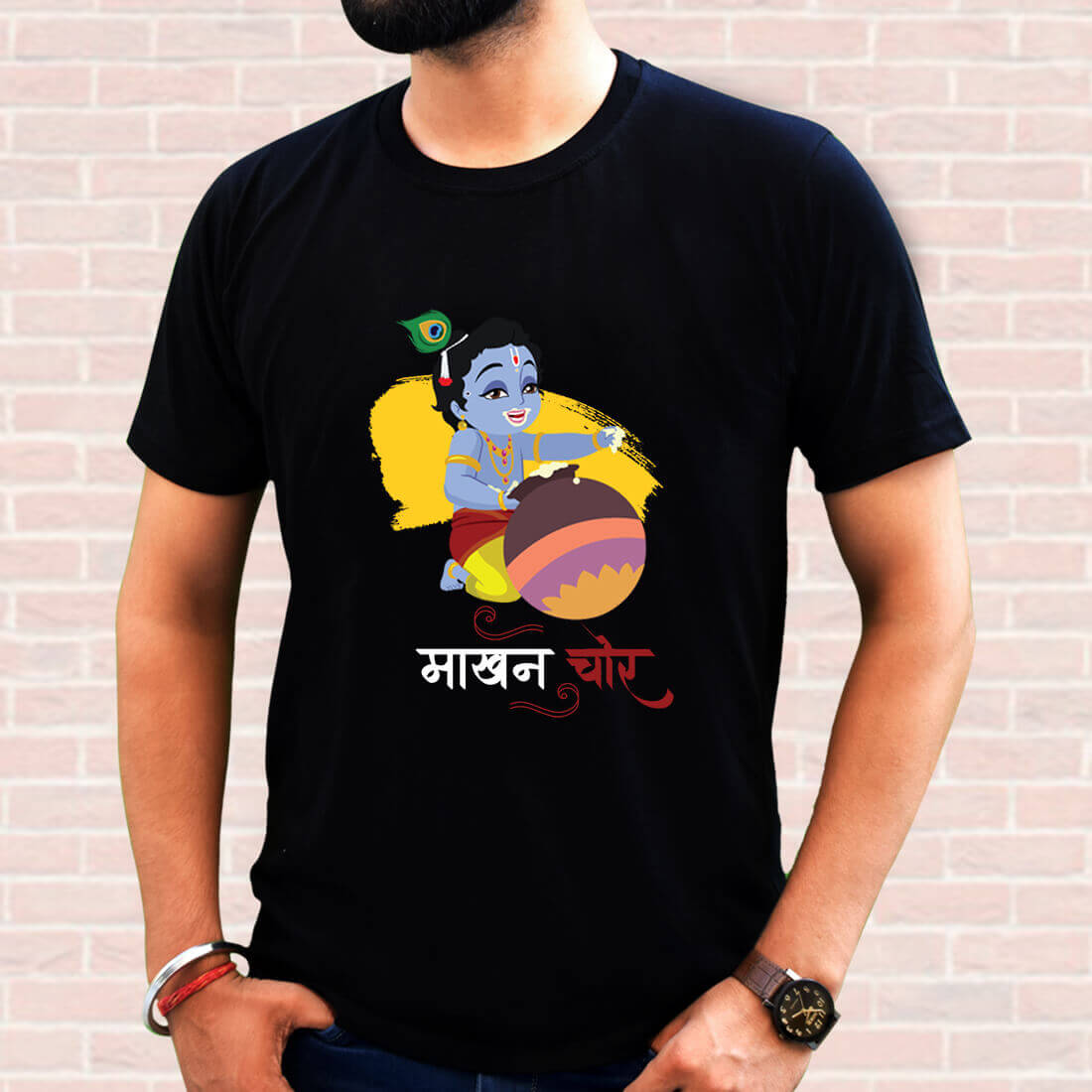 Best Lord Krishna Print Men Black T-Shirt