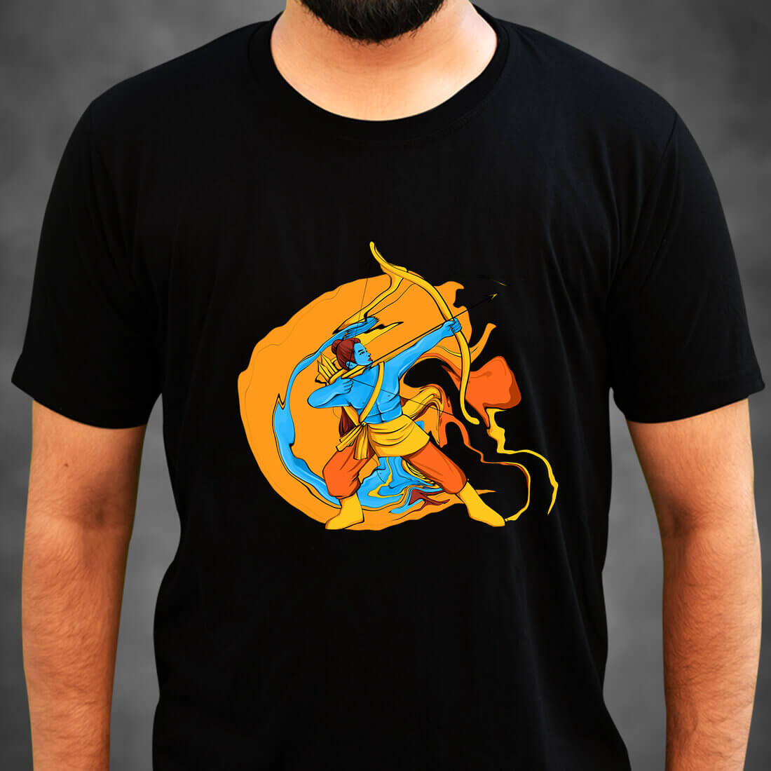 Best Lord Ram simple and Unique Print Men Black T-Shirt