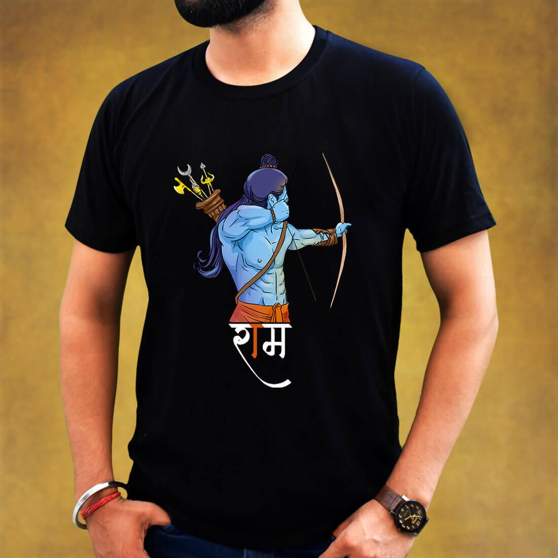 Best Lord Ram Religious Men Black T-Shirt