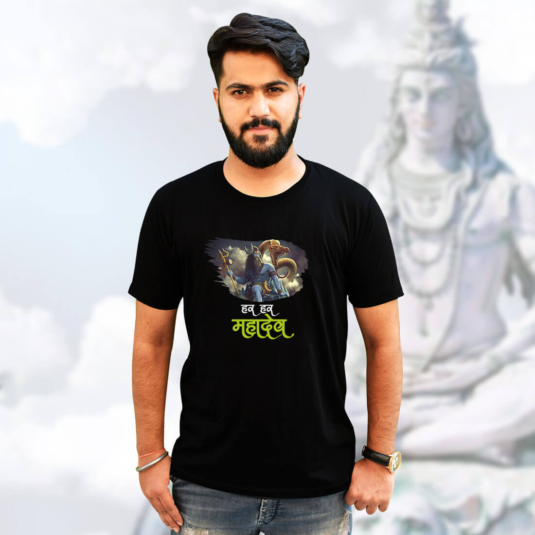 Best Shiva Quote Black T-Shirt Front and Back