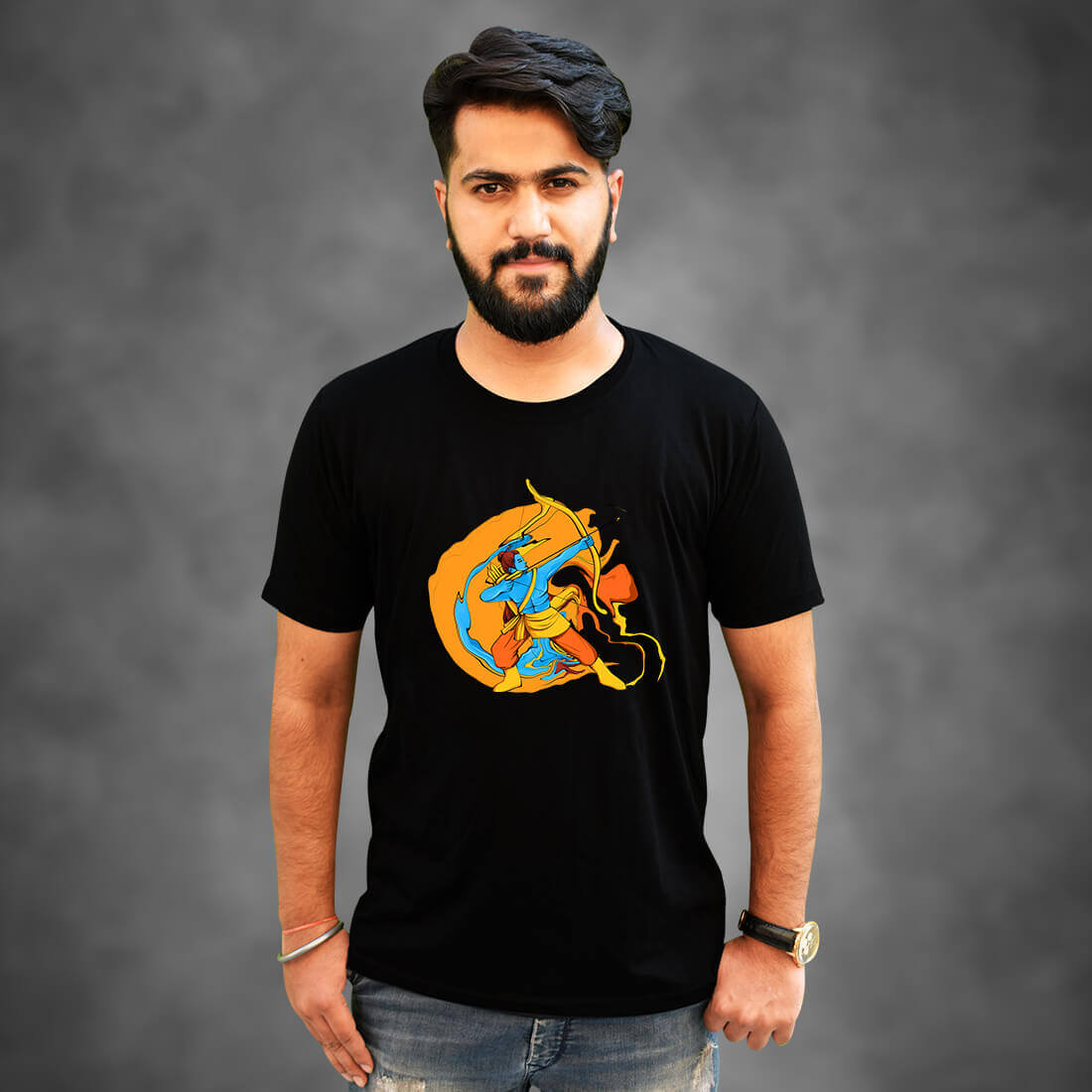 Best lord Ram Black T-Shirt Front and Back