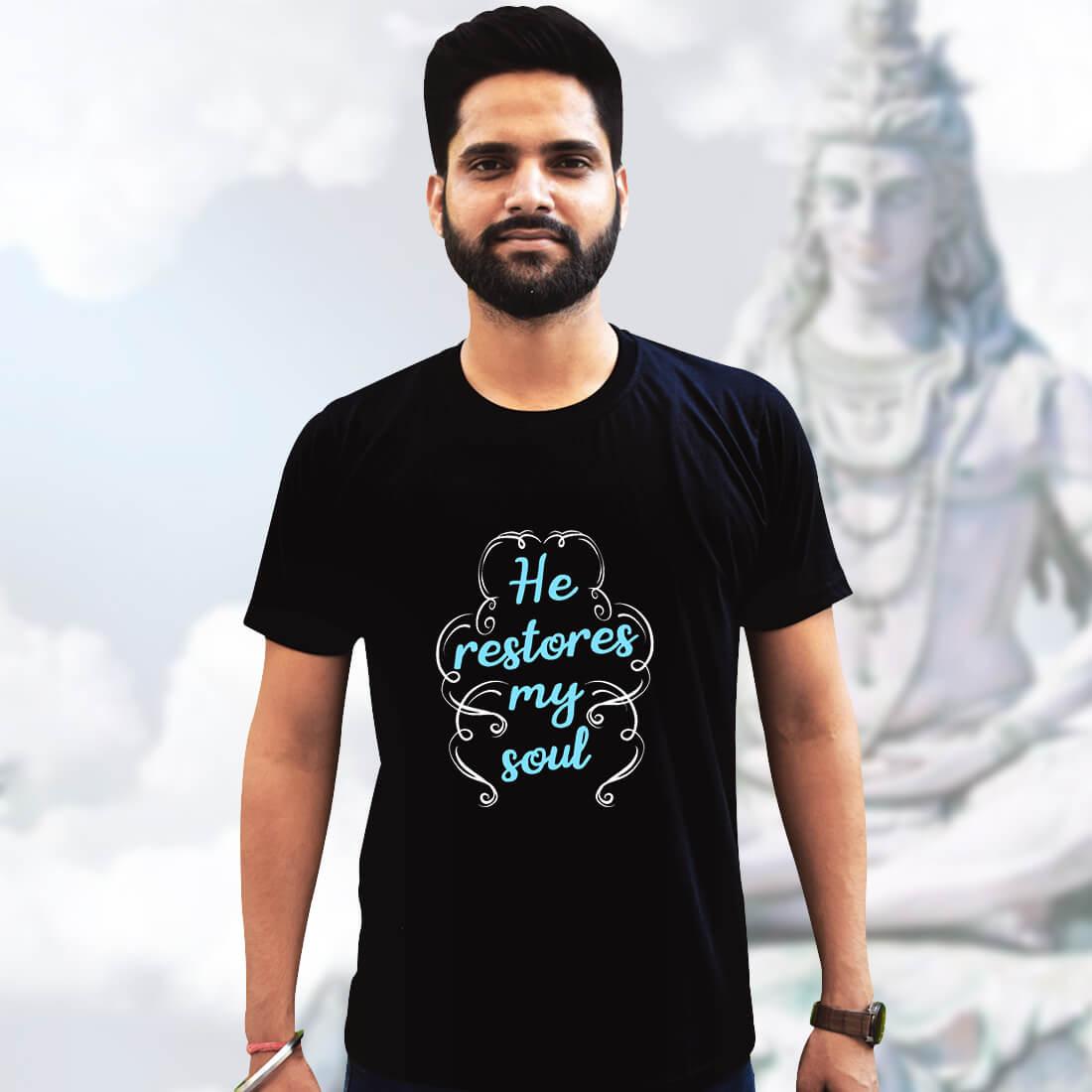 God Quotes Printed Plain Black T Shirt Mens