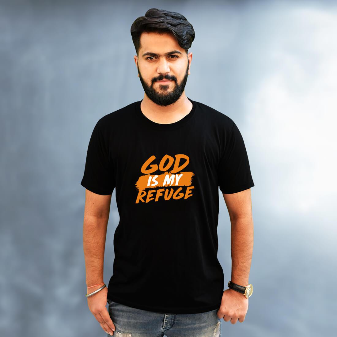 God is My Refuge Printed Black Colour T-Shirt