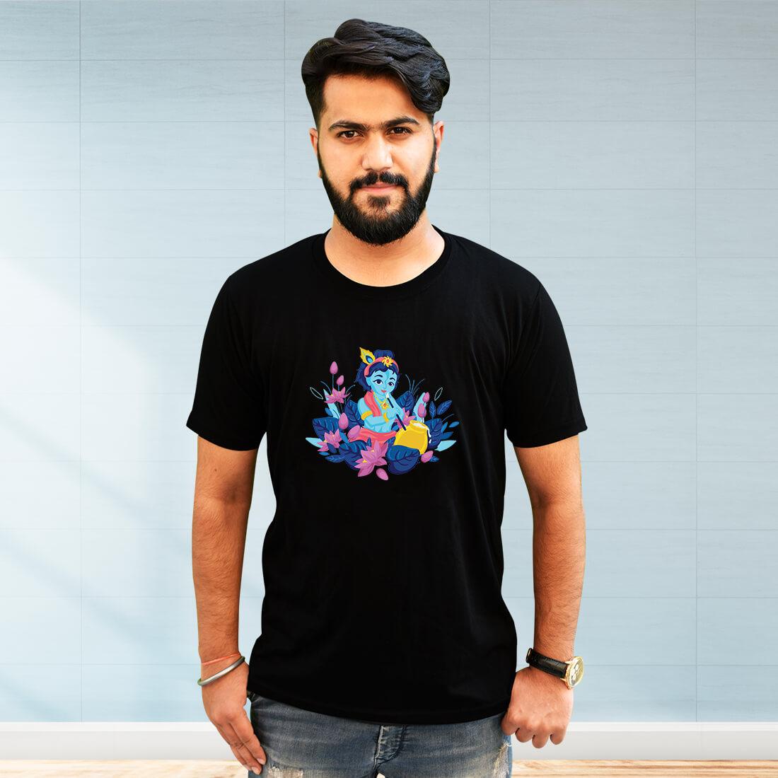 Krishna Painting Printed Plain Black T Shirt Mens