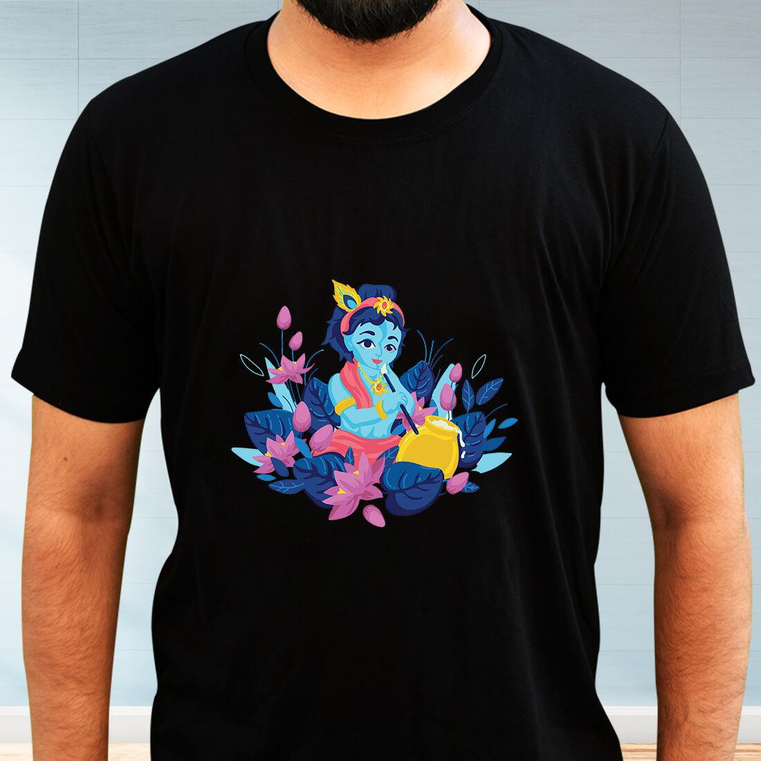 Krishna Painting Printed Black Oversized T Shirt