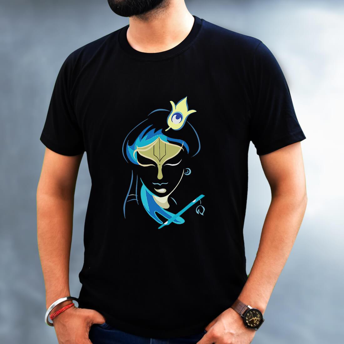Krishna Different Art Design T-shirt For Men