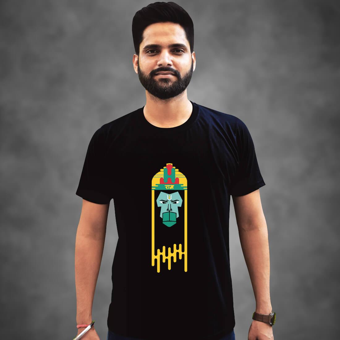 Lord Hanuman Printed Black Oversized T Shirt