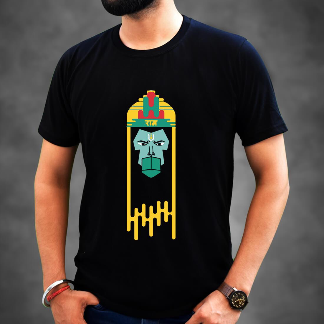 Lord Hanuman Printed Black Colour T-Shirt