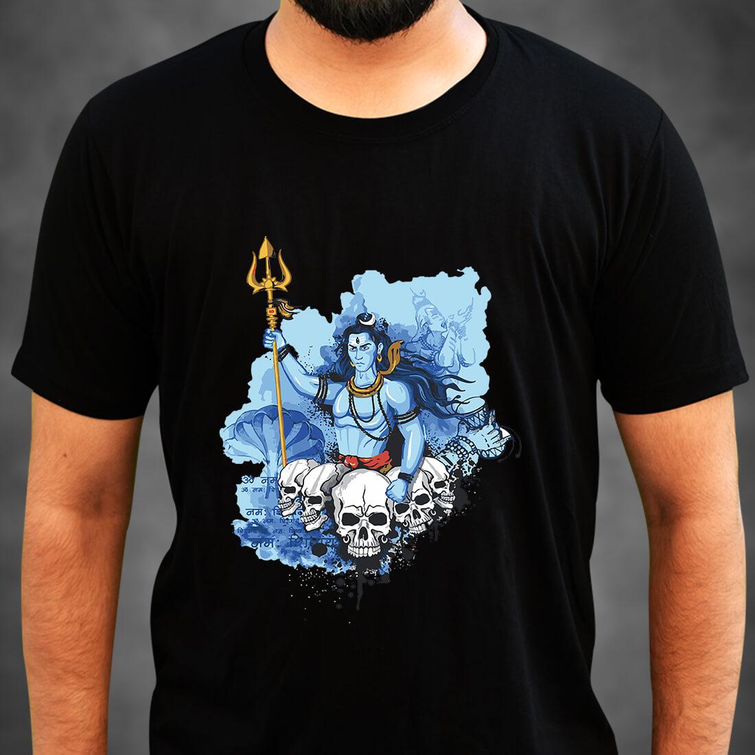 Mahadev Best Design Printed Plain Black T Shirt Online
