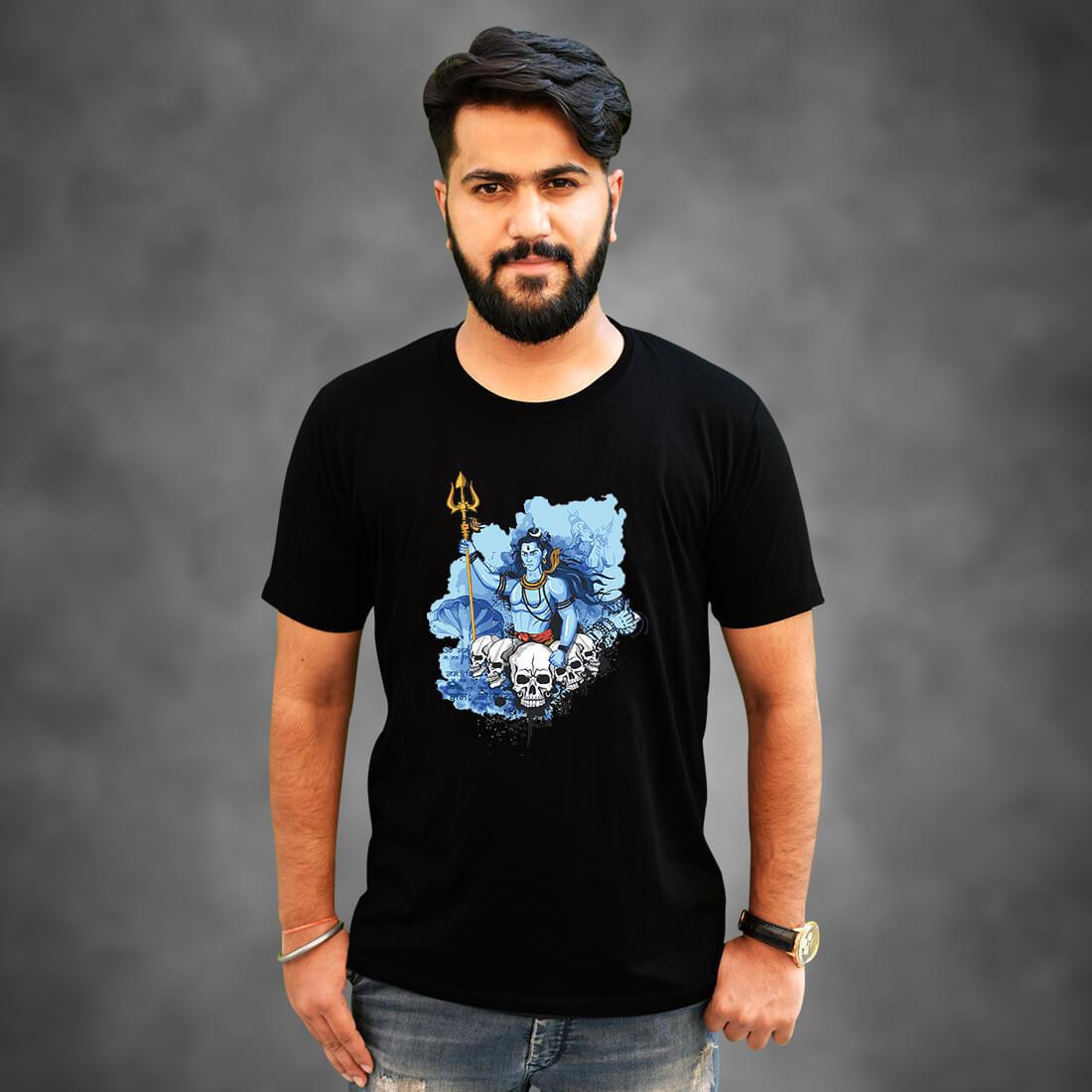 Mahadev Best Design Printed Plain Black T Shirt Mens