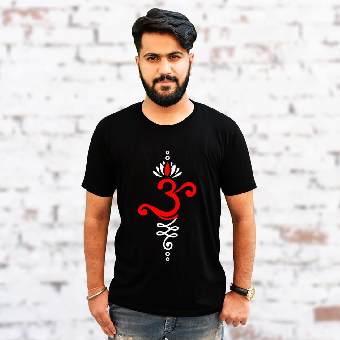 OM Best Design Printed Round Neck Black T Shirt