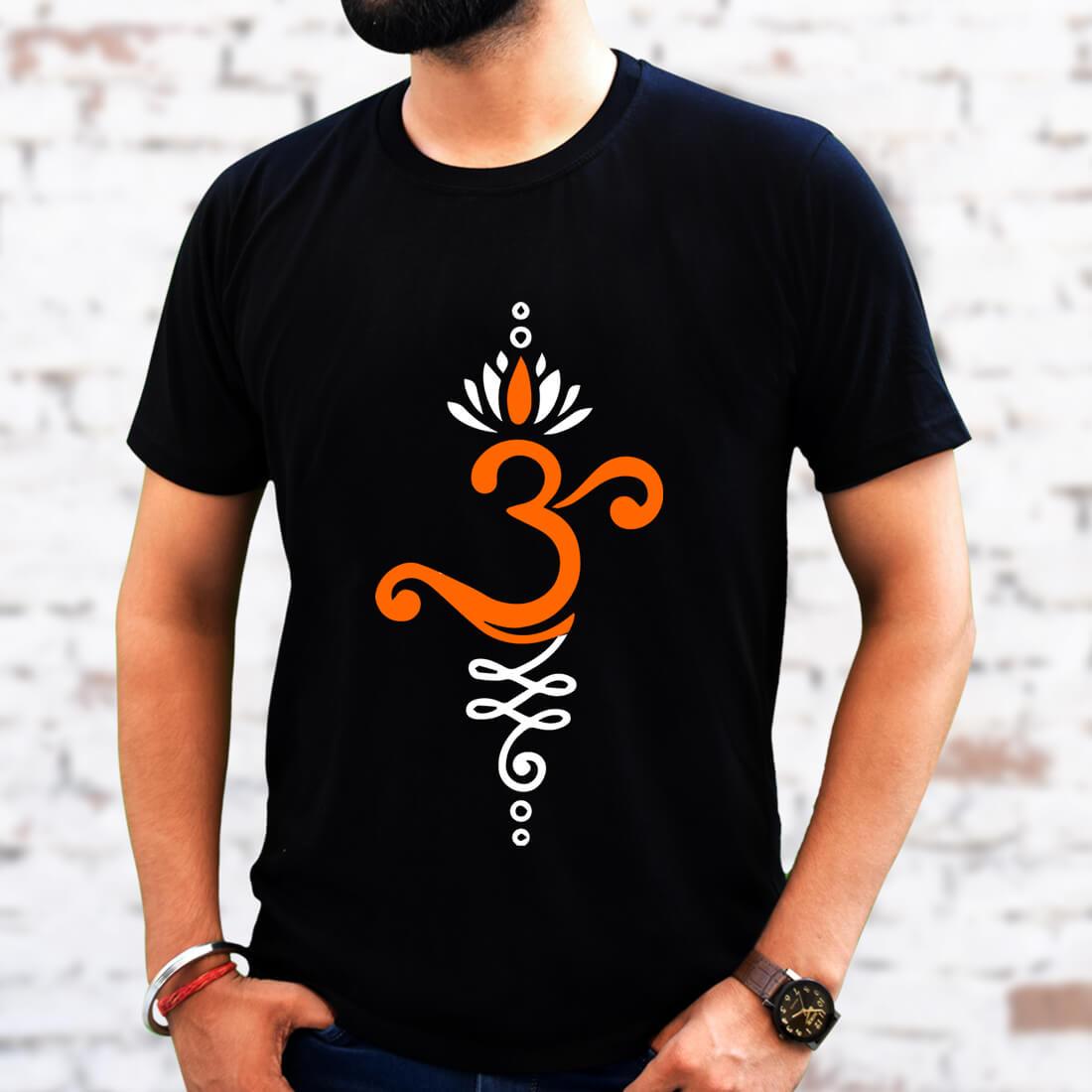 OM Design Printed Black Colour T-Shirt