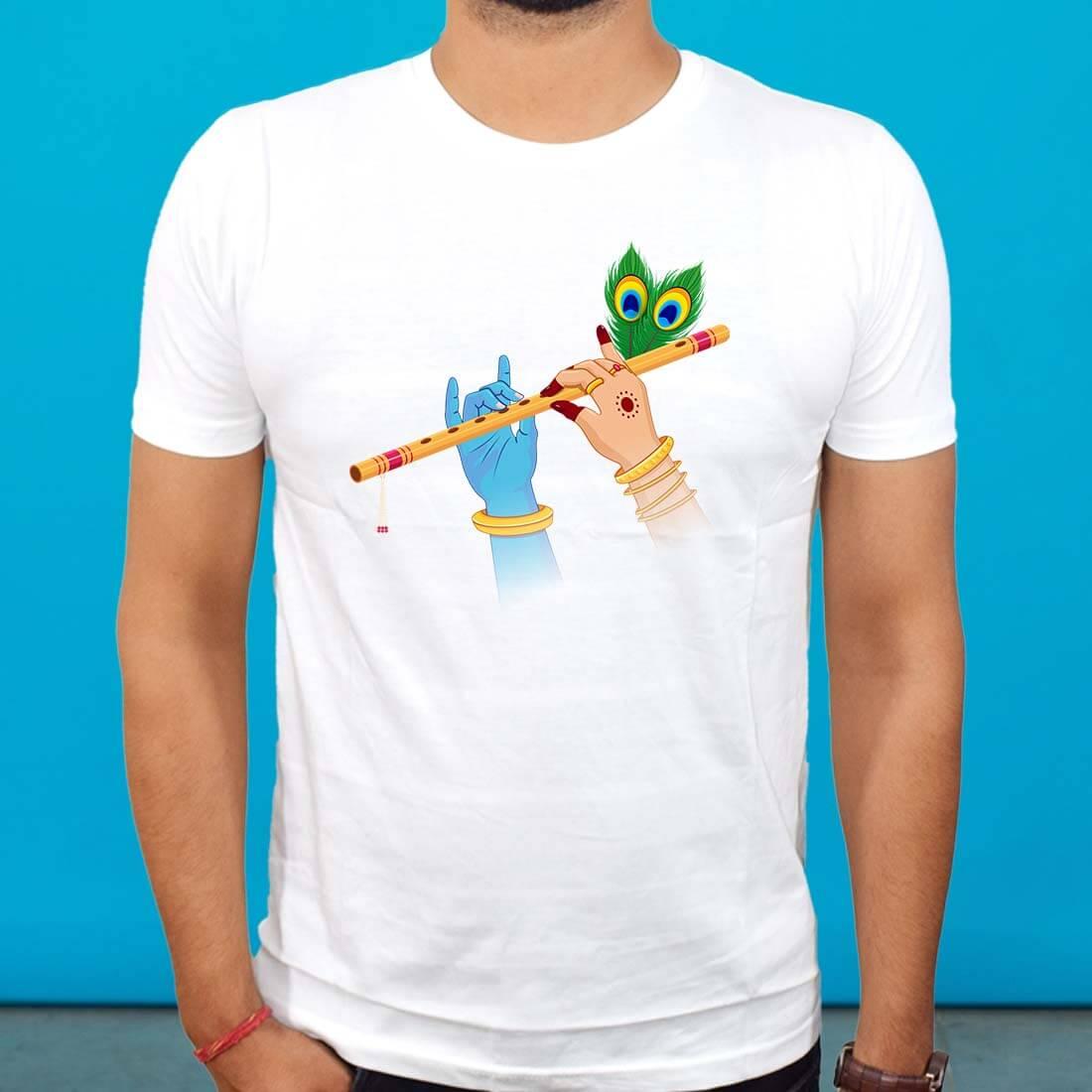 Buy White Radha Krishna T Shirt Online