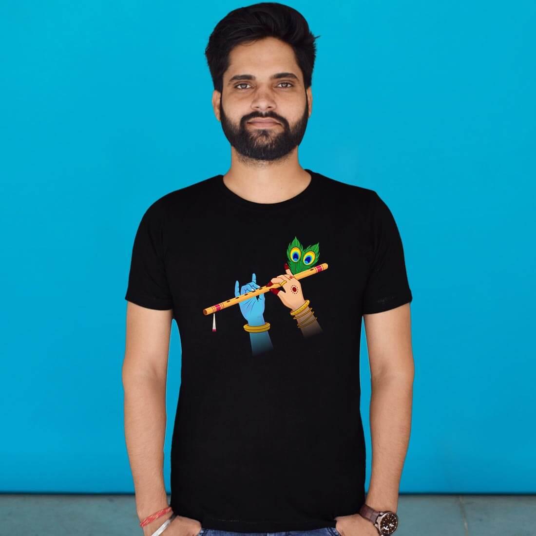 Round Neck Radha Krishna Printed T Shirt