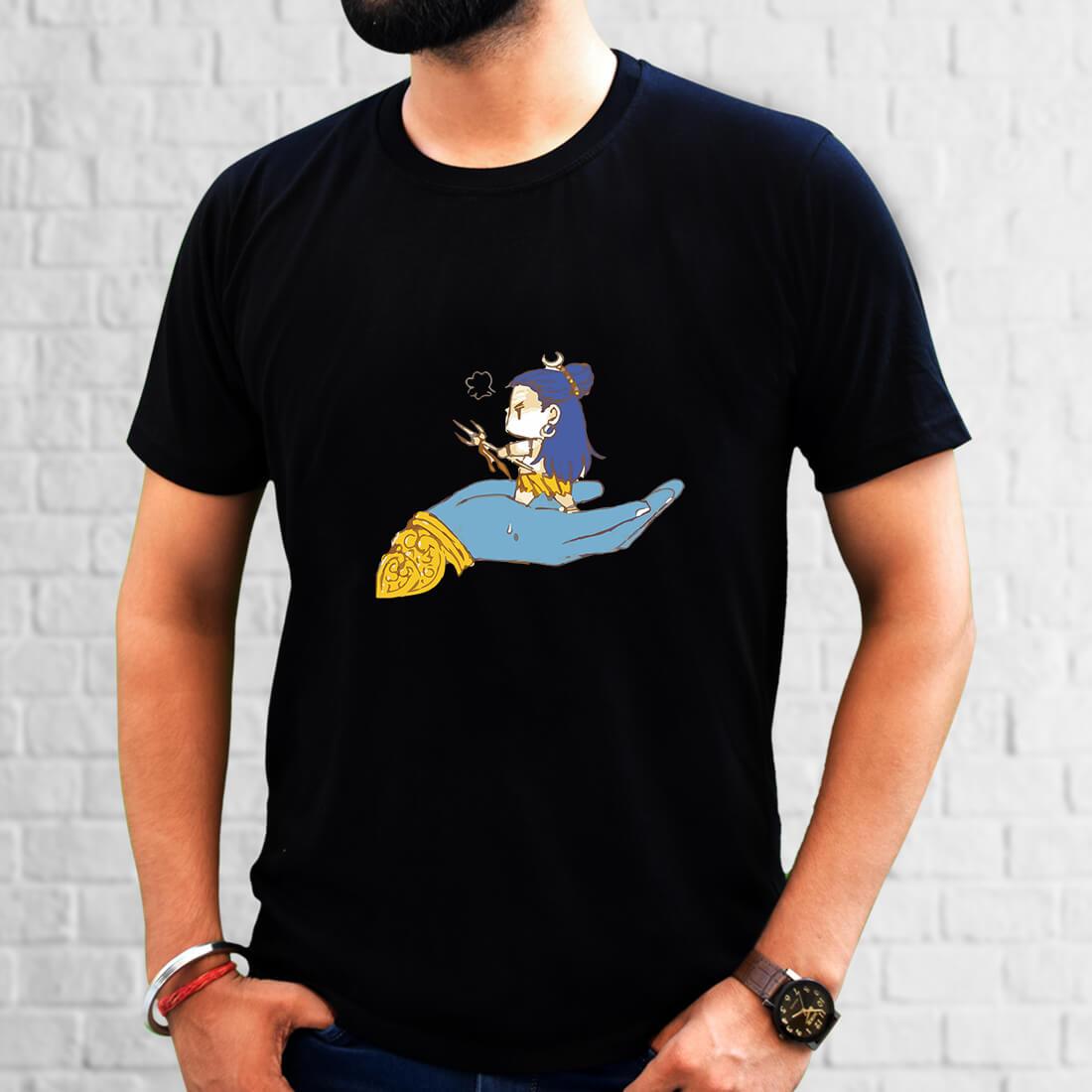 Shiva Painting Printed Plain Black T Shirt Online