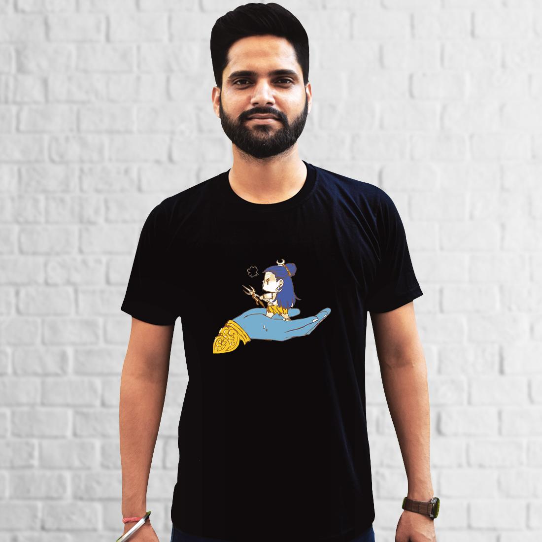 Shiva Painting Printed Black Oversized T Shirt