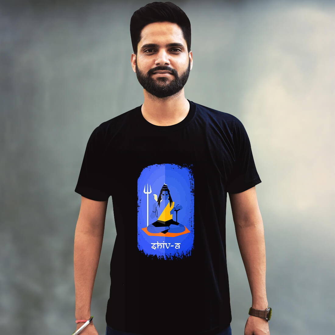 Shiva Sketch Printed Black T Shirt For Mens