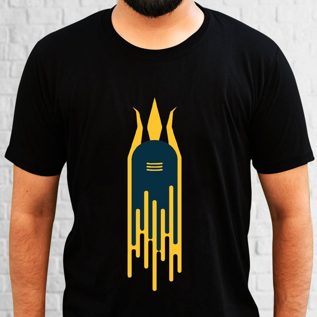Shivling Printed Plain Black T Shirt Online