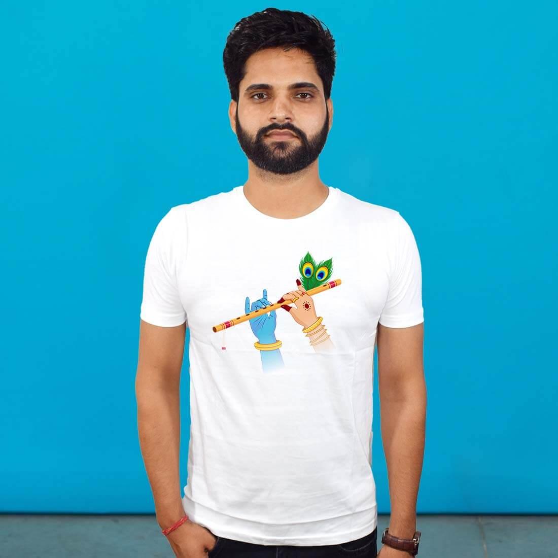 White Radha Krishna T Shirt