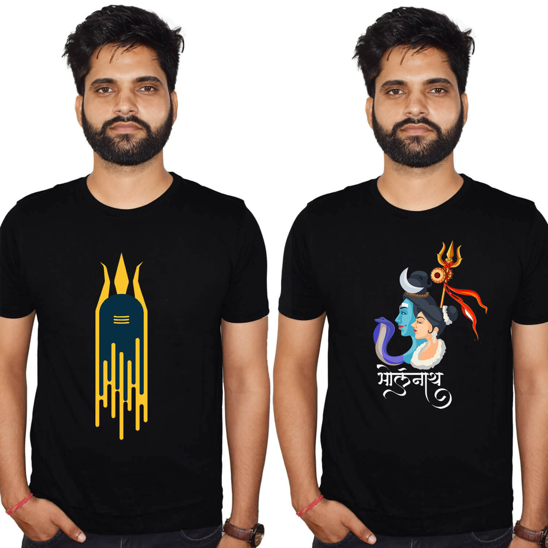 Bholenath black Printed T-shirt Combo