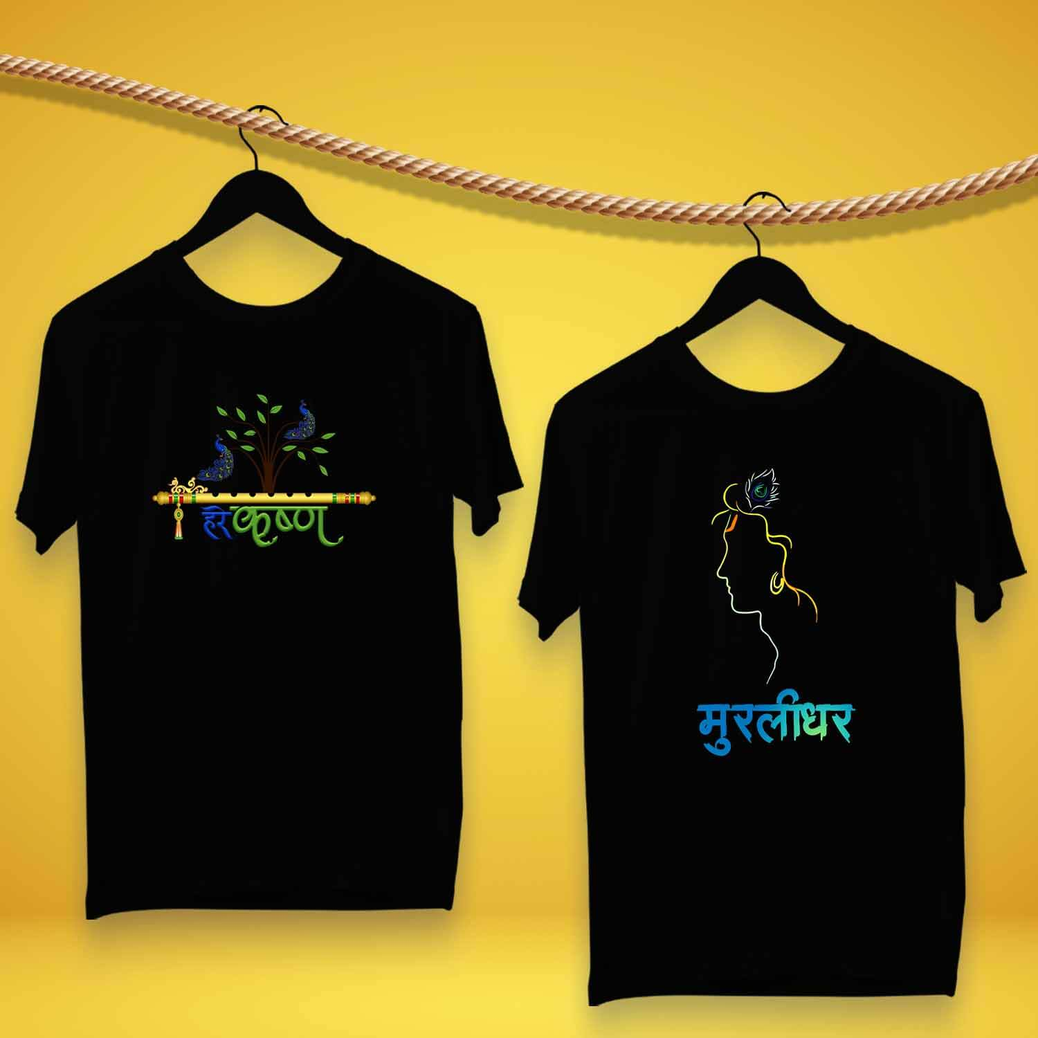 Krishna Graphic Printed Round Neck 100 % Cotton Black Tshirts For Men Combo pack