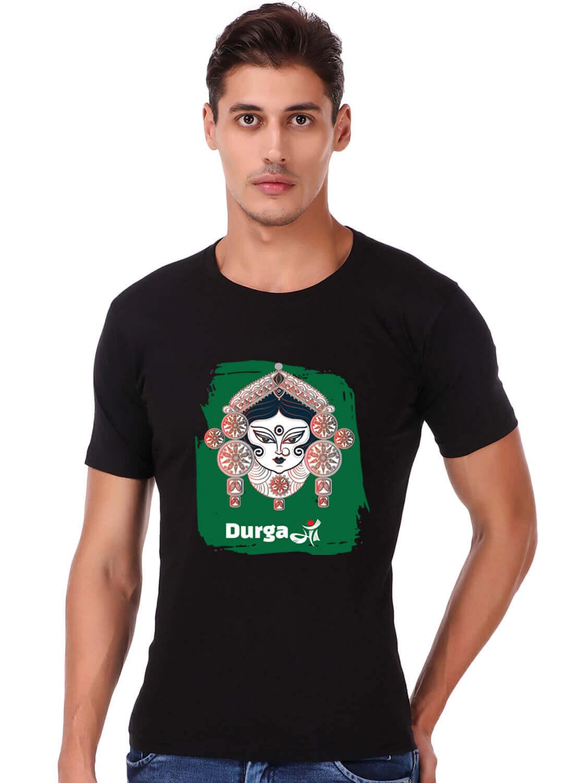 Durga Maa Printed T-shirt Black