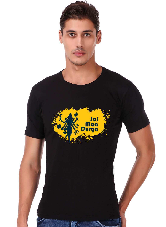 Jai Maa Durga Printed T-shirt Black