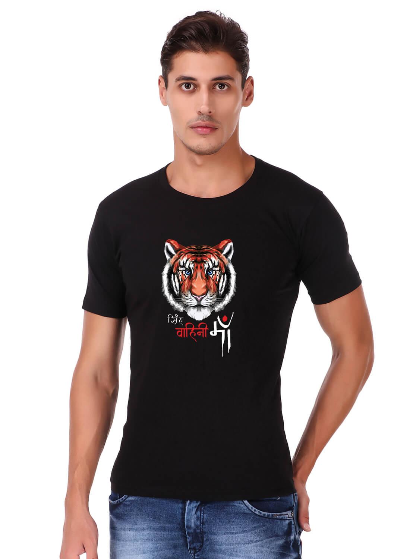 Singh vahini maa Printed T-shirt Black