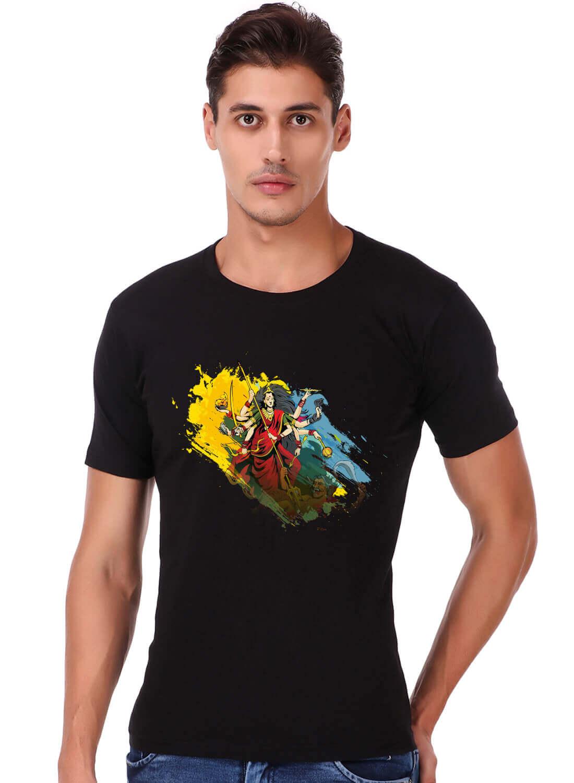 Maa Durga Printed T-shirt Black