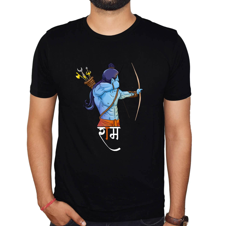 Jai Shree Ram Hindu Printed round neck T-Shirt Combo