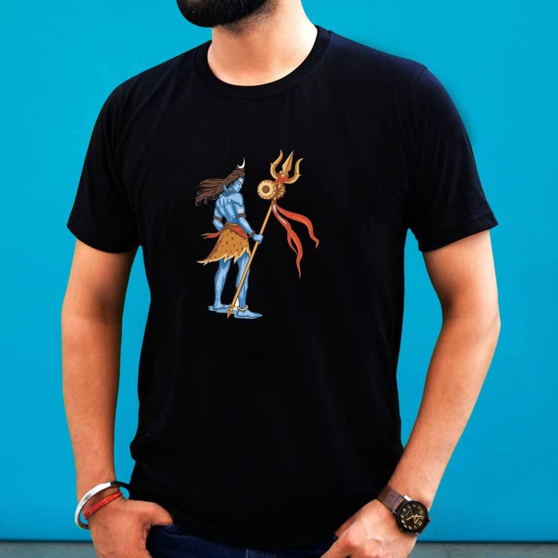 Shiva Trishul Printed Black T-Shirt for Men